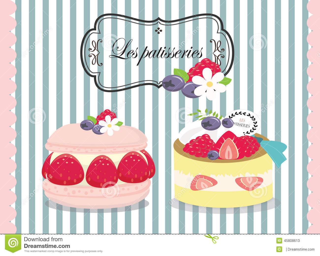 Tasty Patisserie ,pastry ,pie , Cake Stock Illustration.