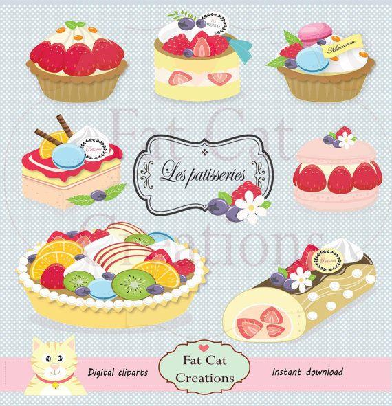Cake ,dessert ,sweet cake ,patisserie, pastry clipart , digital.