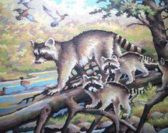 raccoon abstract art.