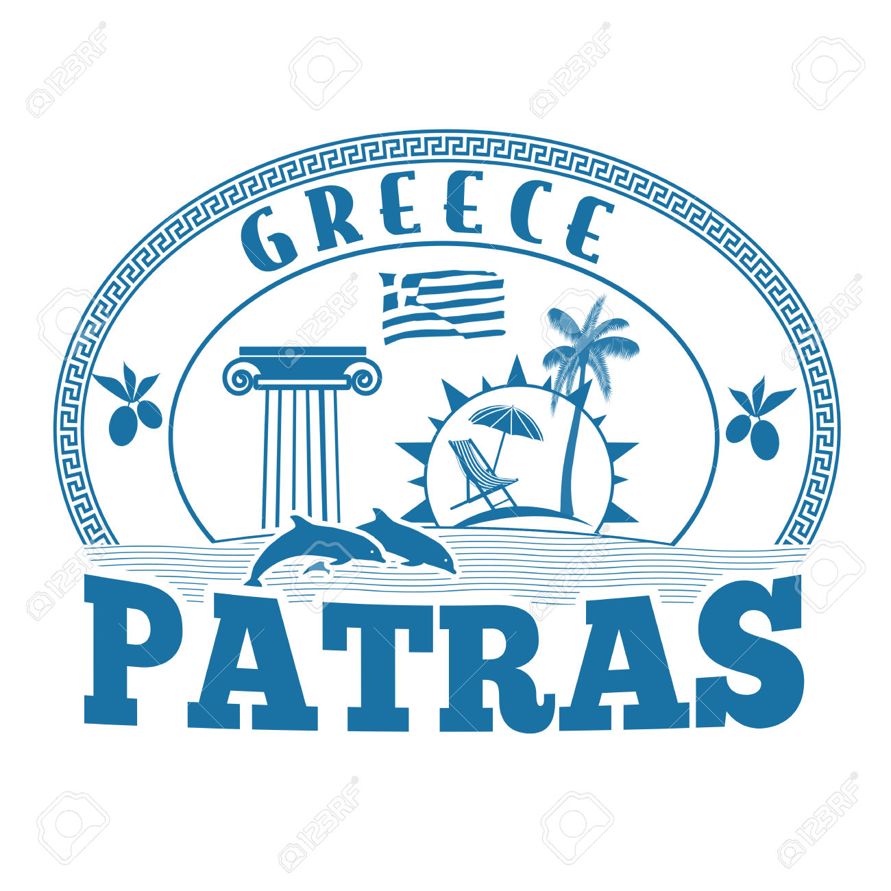 Patras, Greece Stamp Or Label On White Background, Vector.