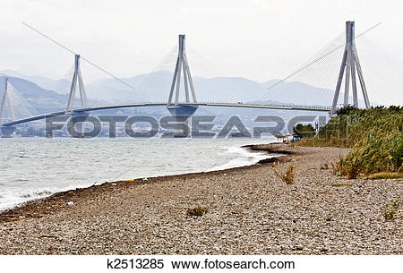 Stock Image of Largest in length cable stayed bridge of the world.