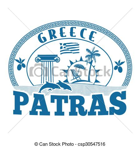 Vector Clip Art of Patras, Greece stamp or label on white.