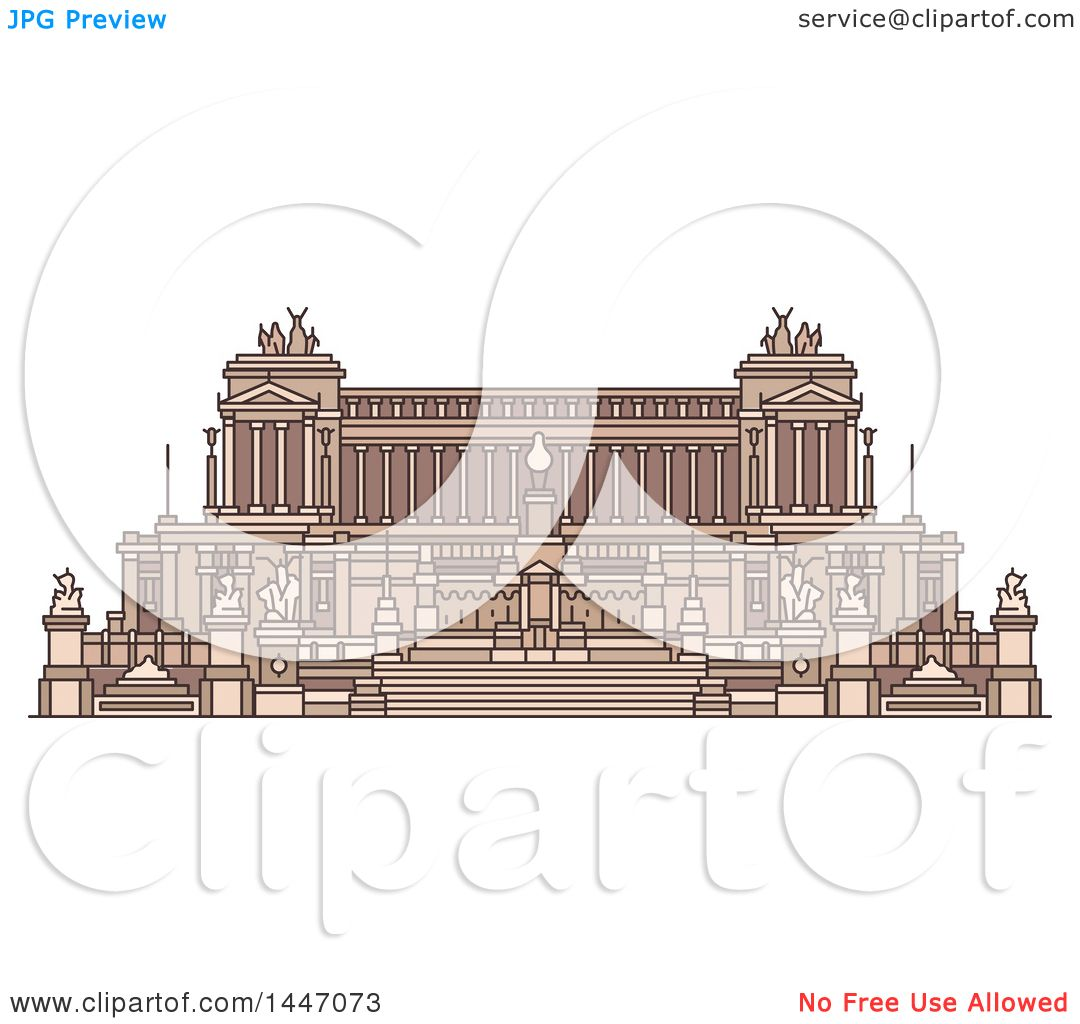 Clipart of a Line Drawing Styled Italian Landmark, Monument Altare.