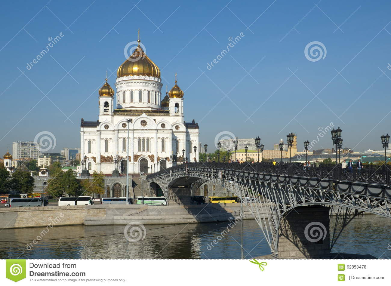 Moscow, Russia. The Cathedral Of Christ The Savior And Patriarch.