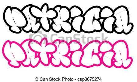 Drawing of Patricia in funny graffiti font.