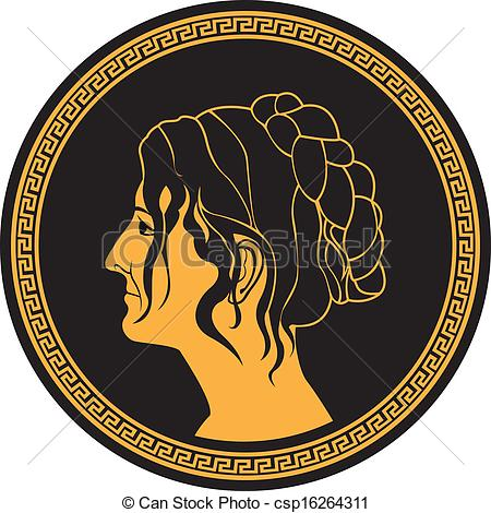Vector Clip Art of patrician women profile on round pattern.