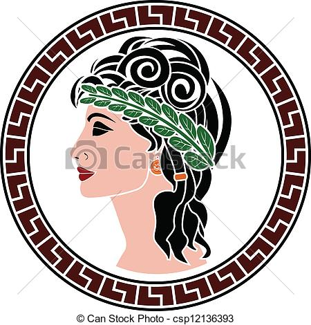 EPS Vectors of patrician women. stencil. first variant csp12136393.