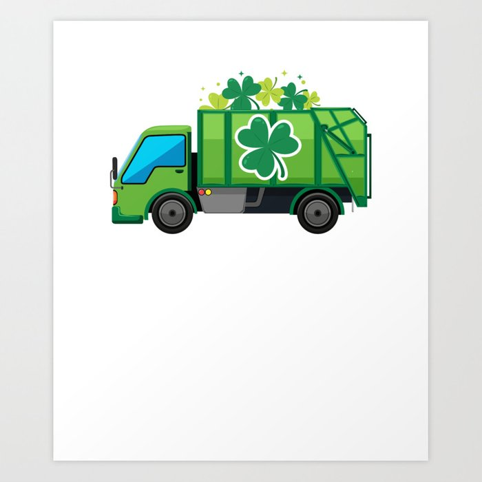 Clover Truck St Patricks Day Full Green Shamrock Art Print.
