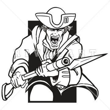 Mascot Clipart Image of Patriots Mascot Black White Graphic.