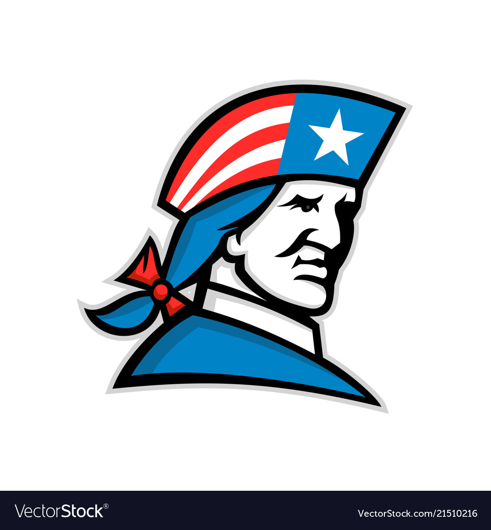 American patriot head usa flag mascot.