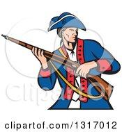 Clipart Retro American Revolutionary Soldier Patriot Minuteman.