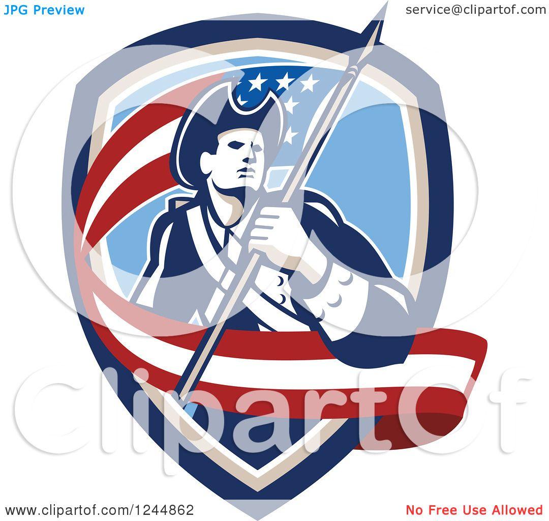 Clipart of a Retro American Revolutionary Soldier Patriot.