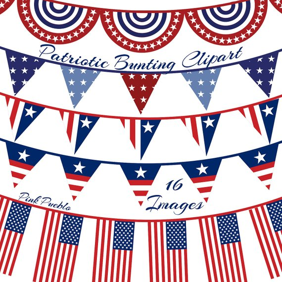 Patriotic Bunting Clipart Clip Art, Fourth of July Flag.