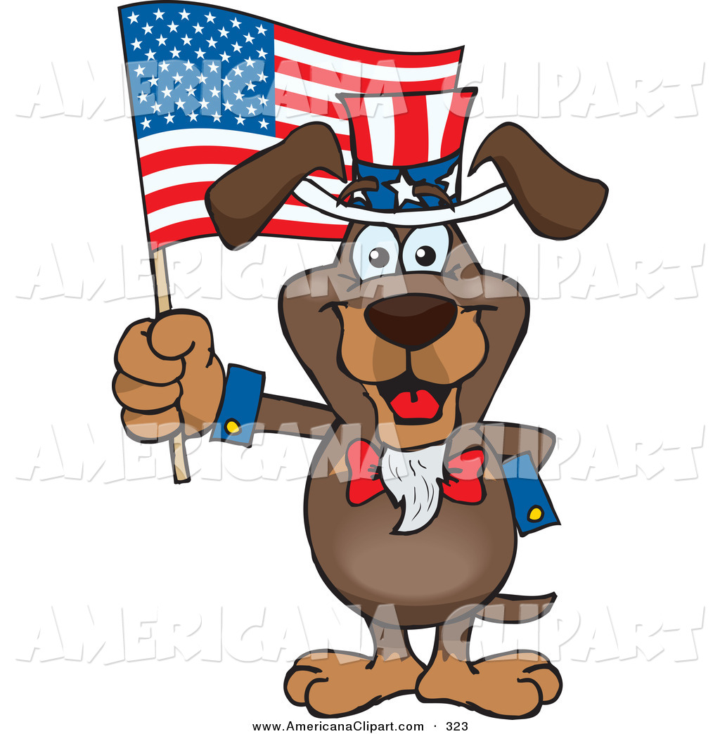 Americana Vector Cartoon Clip Art of a Cute Patriotic Uncle.