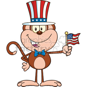 royalty free rf clipart illustration patriotic monkey cartoon character  with patriotic usa hat and american flag vector illustration isolated on  white.