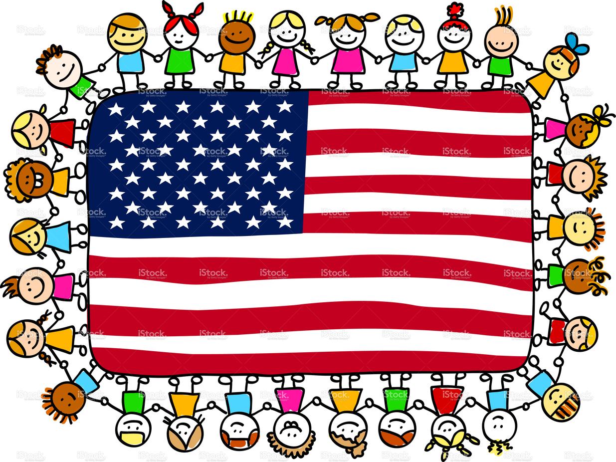 cartoon american flag Patriotic happy children friends.