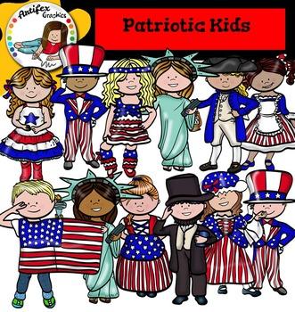 Patriotic Kids Clip Art.