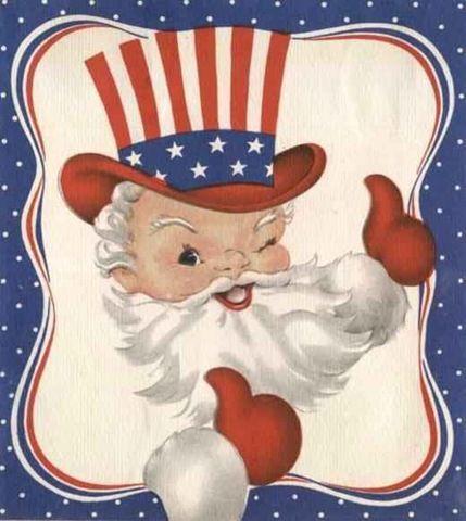 free patriotic Santa clip art image.
