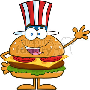 8581 Royalty Free RF Clipart Illustration American Hamburger Cartoon  Character With Patriotic Hat Waving Vector Illustration Isolated On White.