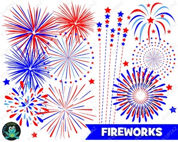 Patriotic Fireworks Clipart.