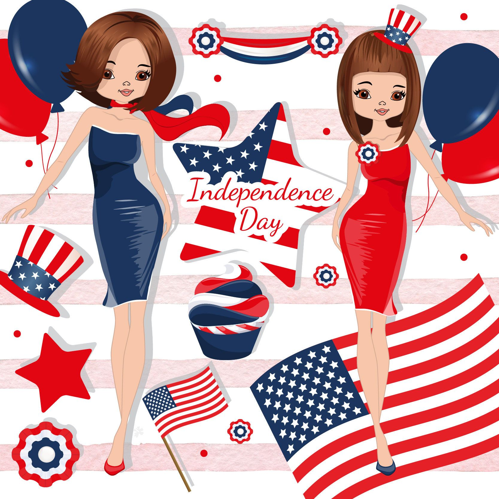 Independence day clipart, 4th of July clipart, Patriotic.