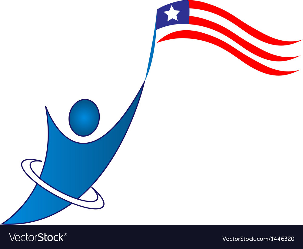 Happy patriotic man logo.