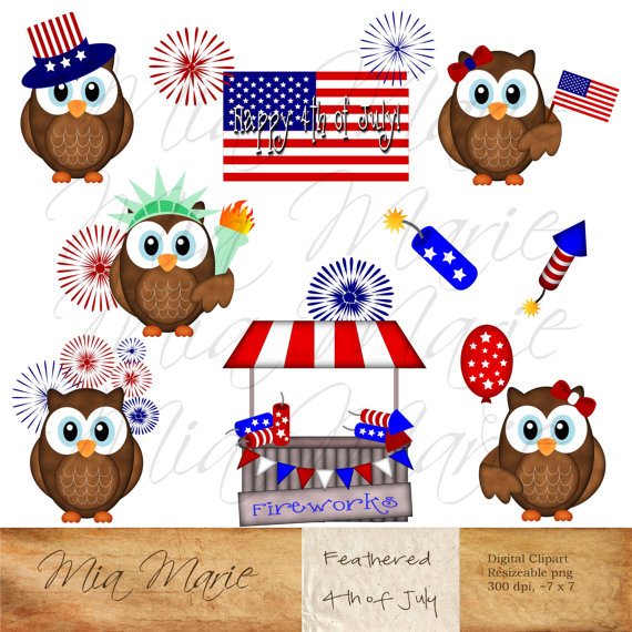 Fourth of July, 4th of July, patriotic, owl clipart, stars.