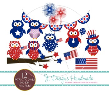Patriotic Owls Commercial Use Clipart.