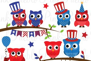 Fourth of July Owl Clipart & Vectors ~ Illustrations.