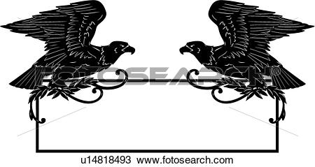 Clipart of , bird, border, eagle, fancy, frame, patriotic.