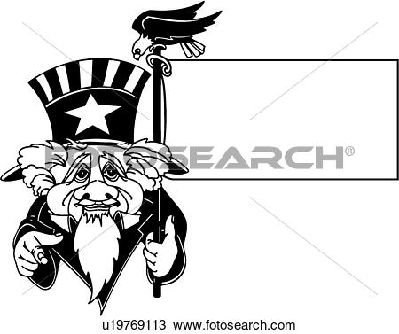 Clipart of , 4th of july, blank, fancy, frame, holiday.
