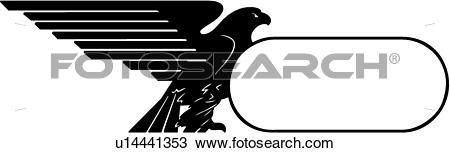 Clipart of , animal, bird, border, eagle, fancy, frame, holiday.