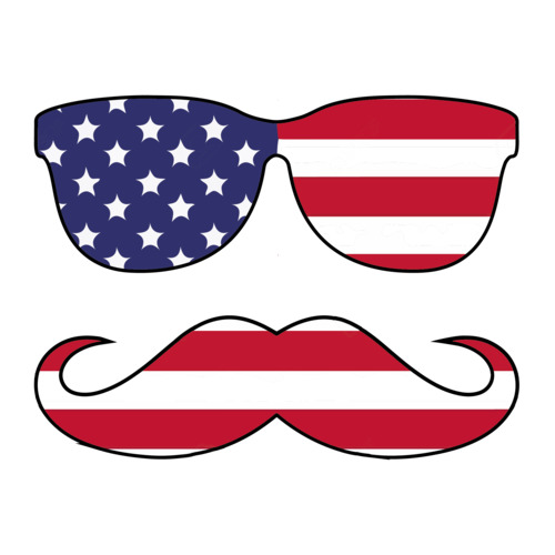Sunglasses And Mustache Flag.