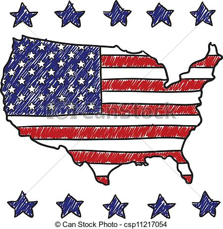 Clipart Vector of Patriotic map of the United States.