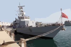 The U.s. Navy Patrol Boat Uss Firebolt (pc 10) Sits Moored In Port.