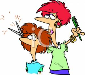 Clipart Picture of a Beautician Cutting A Lady's Hair.