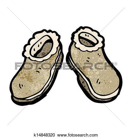 Clip Art of fur lined shoes cartoon k15549157.