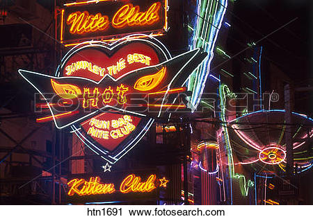 Stock Photography of Thailand, Pattaya, Neon Lights, Night Club.