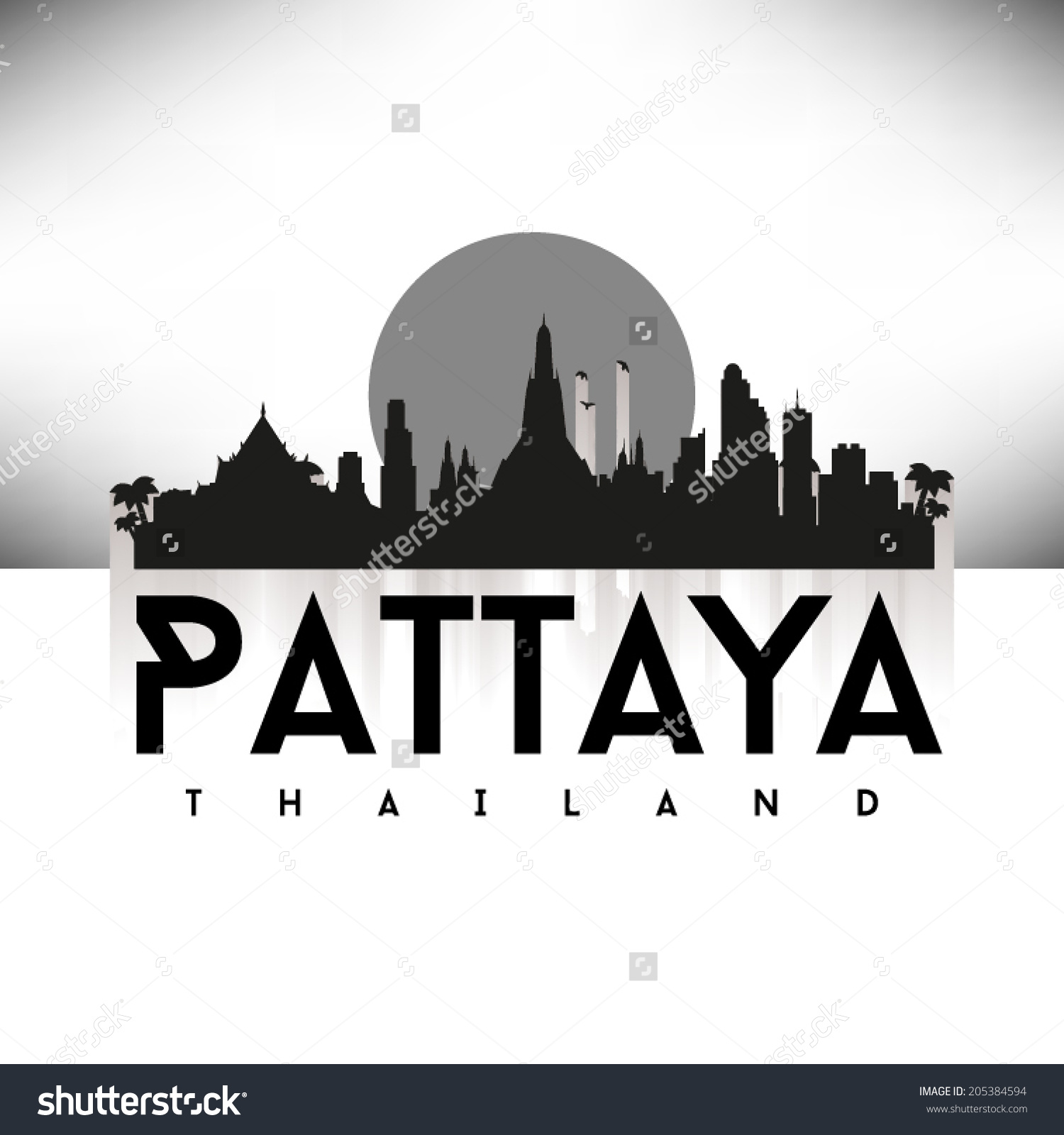 Pattaya Thailand Black Skyline Design Vector Stock Vector.