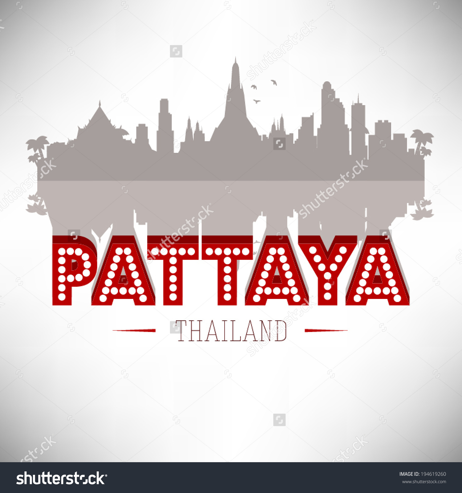 Pattaya Thailand Skyline Silhouette Vector Design Stock Vector.