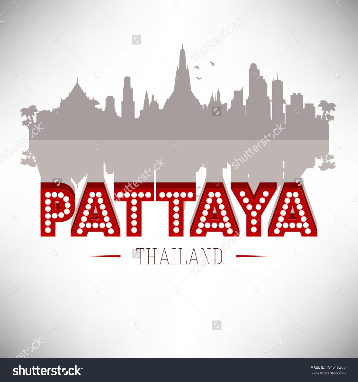 Pattaya Thailand Skyline Silhouette Vector Design Stock Vector.