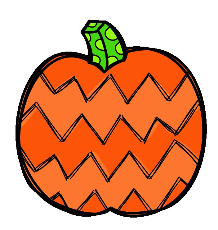 Patterned Pumpkin Clip Art.