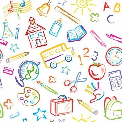 School Symbols Seamless Pattern.