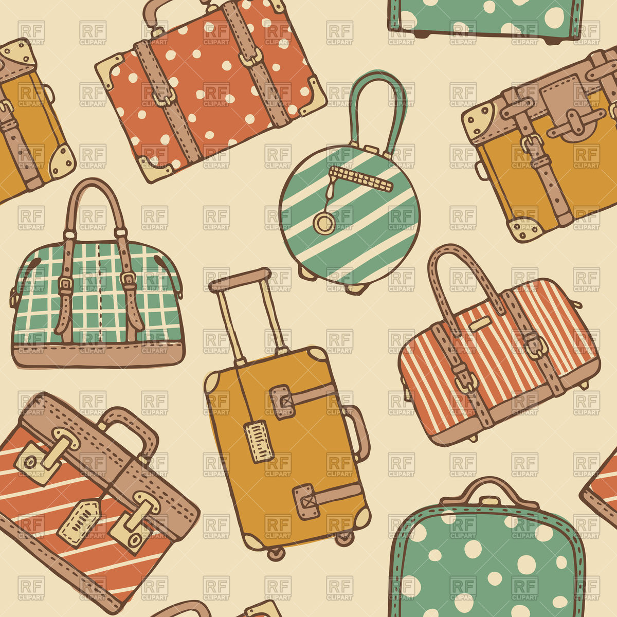 Hand drawn seamless pattern of vintage travel suitcases and bags.