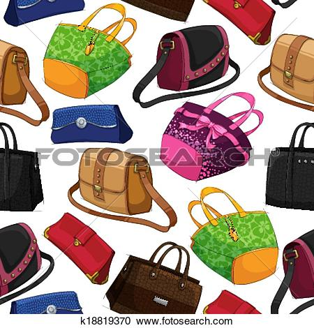 Clipart of Seamless woman's fashion bags background k18819370.