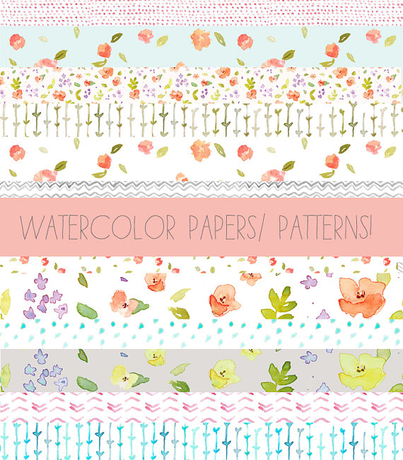 Clip Art Watercolor Patterns Clip Art Tape and by AngieMakes.
