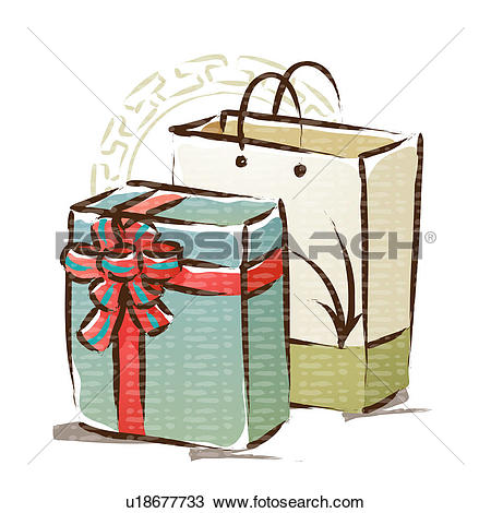 Clipart of new year`s day, gift, traditional pattern, shopping bag.