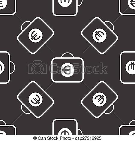 Vector Illustration of Bag with euros pattern.