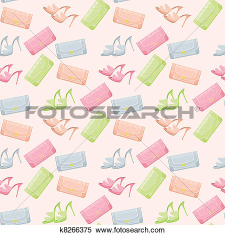 Clipart of Seamless bags and shoes pattern k8266375.