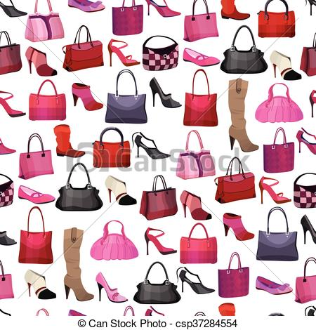Clipart Vector of Seamless pattern with womans bags and shoes.